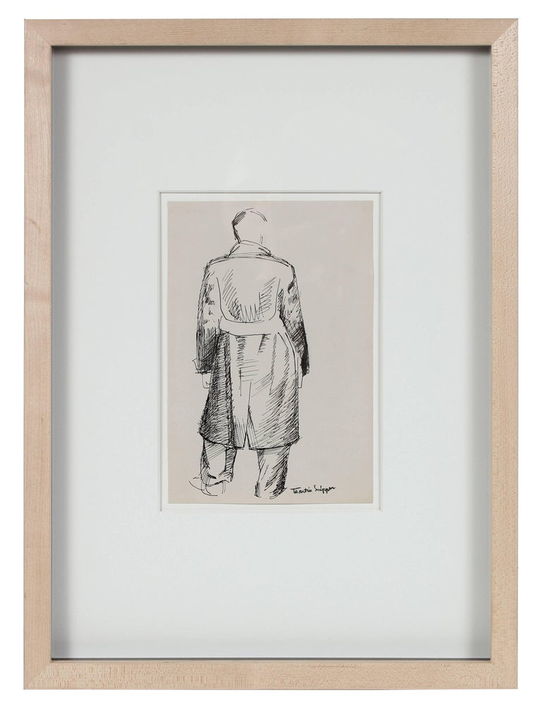 Martin Snipper Figurative Art - Man in Trench Coat, Ink on Paper Sketch, 20th Century