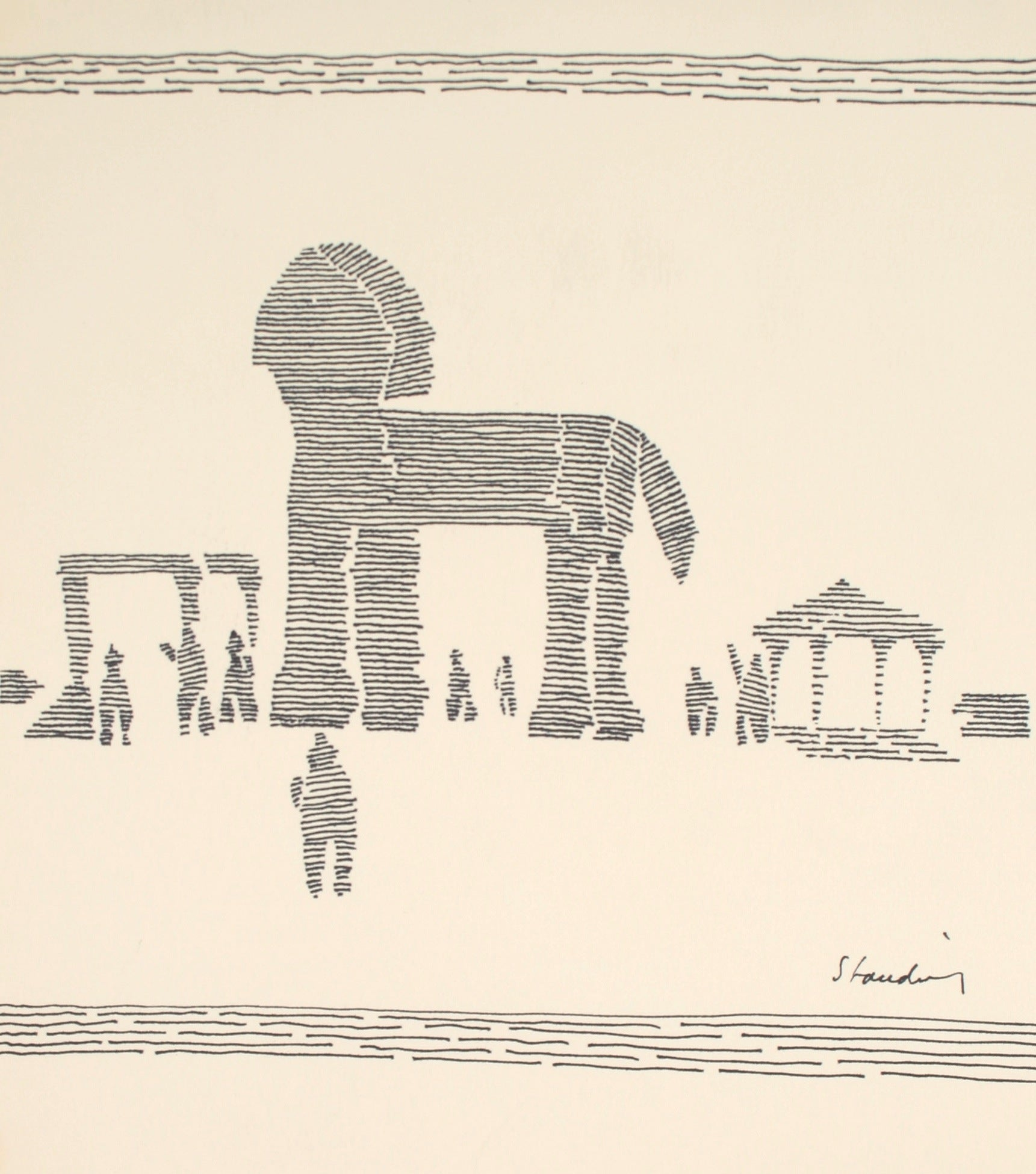 Ink on Paper Line Drawing, 20th Century