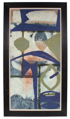 Oil on Masonite Abstract with Blue, Late 1950's