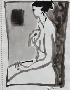 Monochromatic Female Nude, Ink Wash on Paper, 20th Century