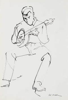 A Man Playing the Banjo, Ink on Paper Sketch, 20th Century