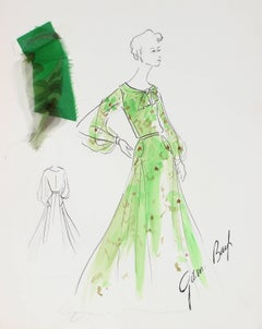 Framed Fashion Illustration in Green, Ink and Gouache, 1950s