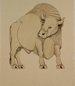 Mid Century Etching of a Bull