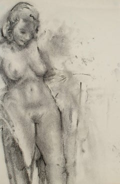 Female Nude in Charcoal, 20th Century