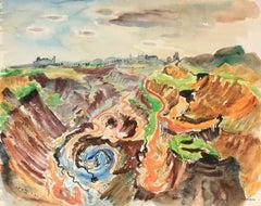 Bright Landscape in Watercolor, Mid 20th Century