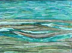 """""""Mendocino Lake II"""" Abstracted Landscape in Gouache and Oil, 2016"""