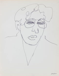 Modernist Line Drawing Portrait with Glasses, Ink on Paper, 20th Century