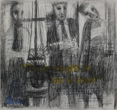Three Abstracted Figures in Graphite with Yellow Blue and Text, 20th Century
