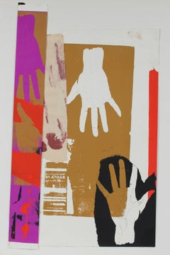 """Railroad Hands"" Screen Print and Collage in Purple Red Black Tan, 20th Century"