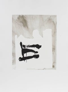 Minimal Abstract in Black and White, Monotype on Paper, 1992
