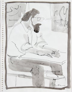 Seated Man with a Beard, Ink Wash Drawing, 20th Century