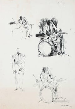 Study of Musicians, Ink on Paper, Mid Century
