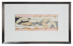 Abstracted Figurative Collage in Metallic Silver & Warm Colors, Mid 20th Century