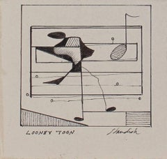"""Looney Toon"" Petite Monochromatic Musical Abstract in Ink, 20th Century"