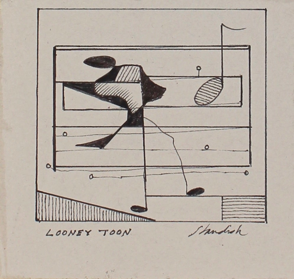 """""""Looney Toon"""" Petite Monochromatic Musical Note Abstract in Ink, 20th Century"""