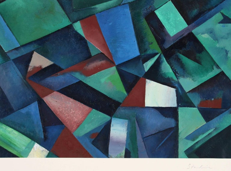 """Schuyler Standish Abstract Painting - """"The Orchestra Pit"""" Modernist Geometric Abstract in Oil"""