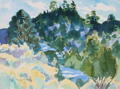 """Dos Montes With Snow"" Santa Fe, New Mexico Watercolor Landscape, 1994"