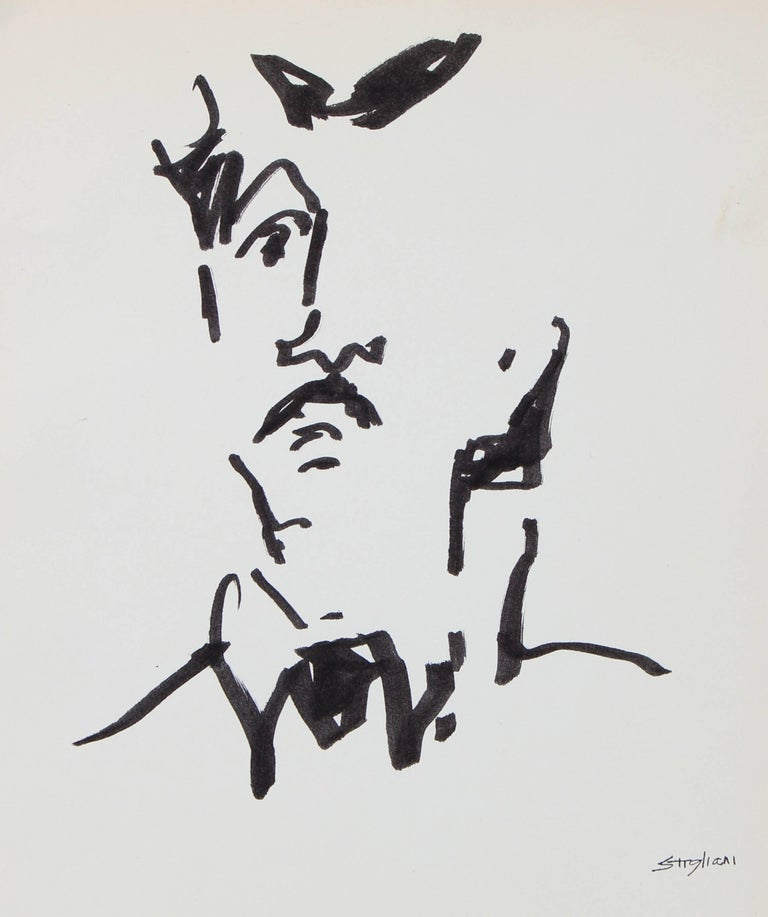 Modernist Portrait of a Man in Ink, 20th Century