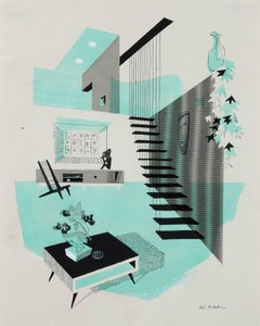 Mid Century Modern Interior Illustration, Ink and Gouache