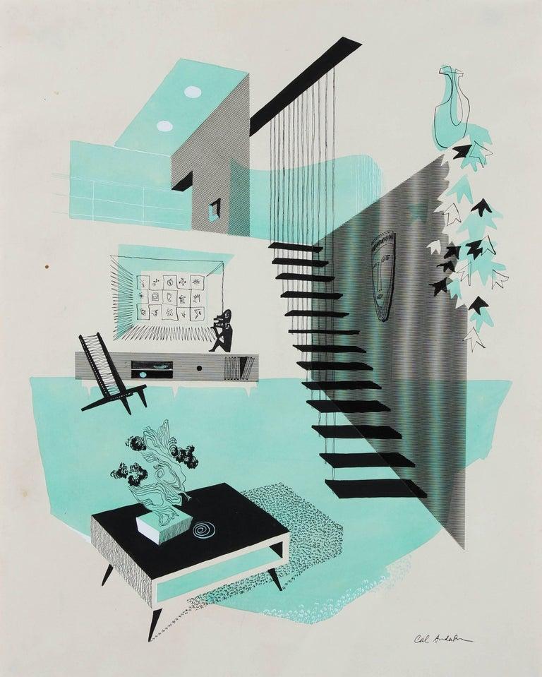 Mid Century Modern Interior Illustration, Ink and Gouache