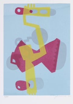 Abstracted Figure in Blue, Yellow, and Pink, Serigraph on Paper, 1972