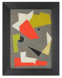 Modernist Geometric Abstract, Oil on Paper, 1943
