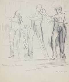 """Study of Dancers"" Monochomatic Graphite on Paper Drawing of Nude Dancers, 1963"