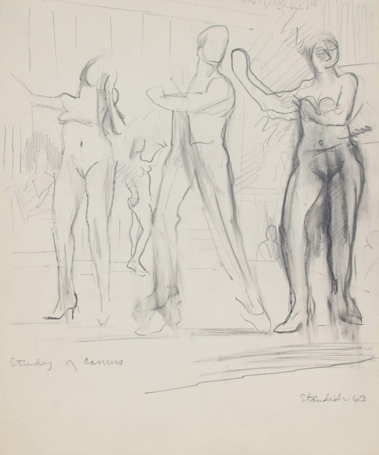"""Schuyler Standish Figurative Art - """"Study of Dancers"""" Monochomatic Graphite on Paper Drawing of Nude Dancers, 1963"""