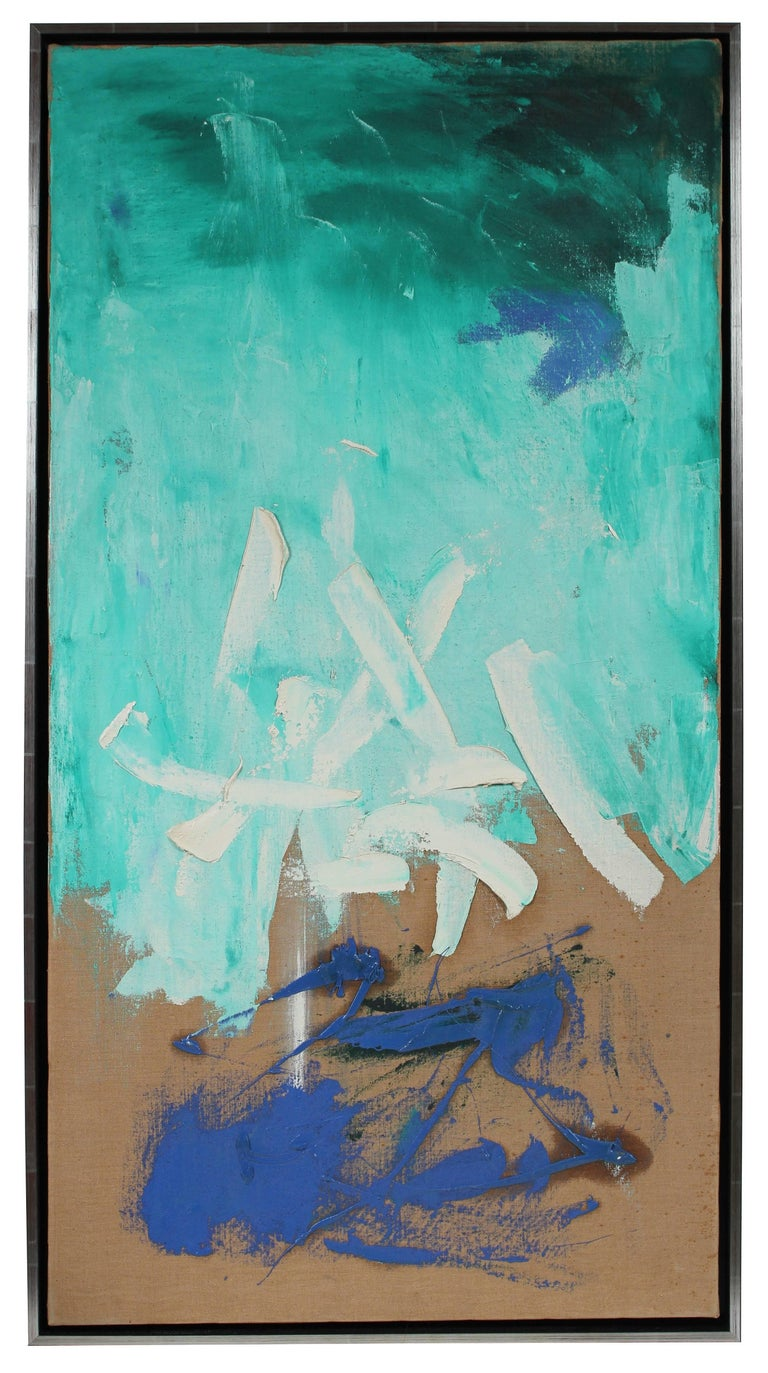 Modernist Abstract in Blue, Oil Painting, Circa 1950s