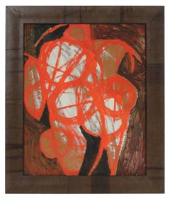 Modernist Abstract in Orange, Oil Painting, Circa 1950s