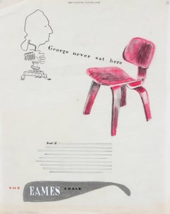 Mid Century Eames Chair Illustration in Pink, Pastel and Colored Pencil on Paper