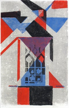 Abstract with Triangles, Silkscreen Print, 1977