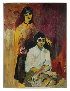 """Clara & Theodora"" Bay Area Figurative Portrait Oil Painting, 1963"