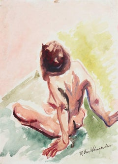 Expressionist Figure in Watercolor, Mid 20th Century