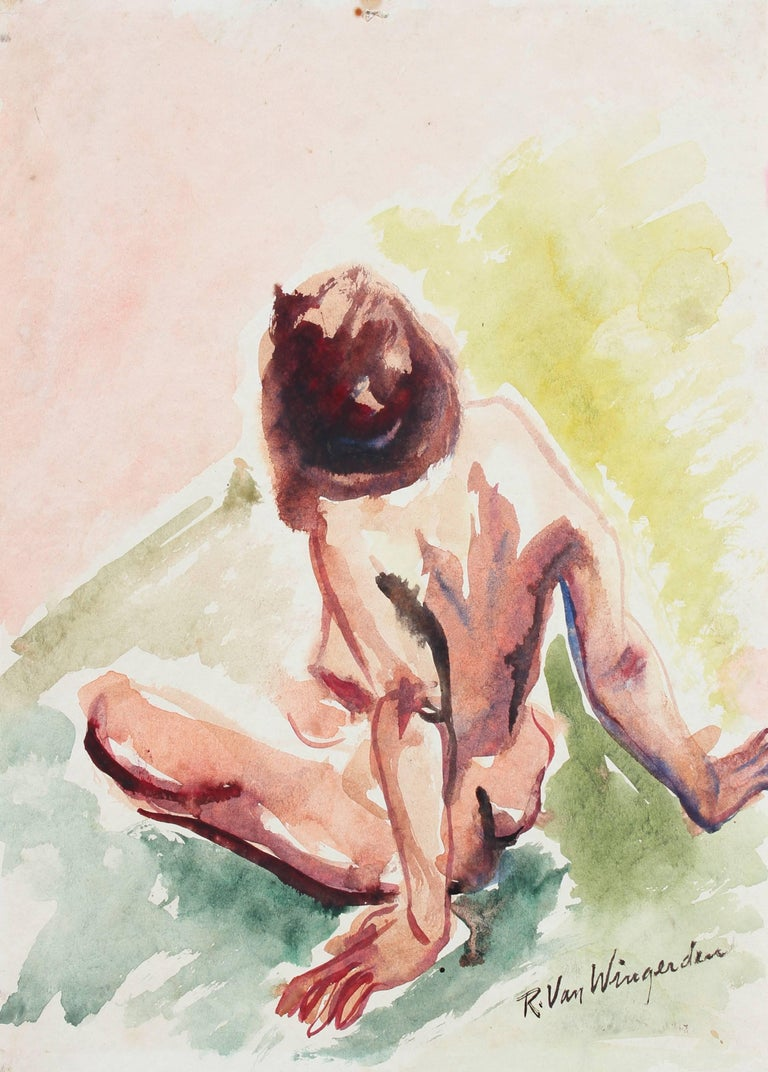 Expressionist Figure in Watercolor, Mid Century