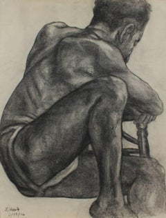 Seated Male Figure in Charcoal, 1936