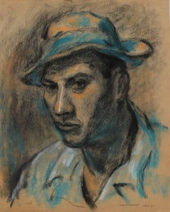 Modernist Portrait of a Mexican Man in Blue, Charcoal and Pastel Drawing, 1943