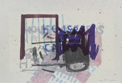 """House of Cards"" Abstract Expressionist Lithograph with Indigo, 1999"