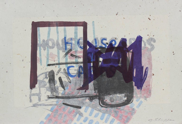 """""""House of Cards"""" Abstract Expressionist Lithograph with Indigo, 1999"""