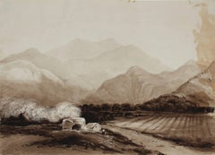 British Landscape in Sepia, Watercolor Painting, Circa Mid 1800s
