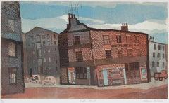 """Battery Street"" London Street Scene, Color Etching, 1960s"