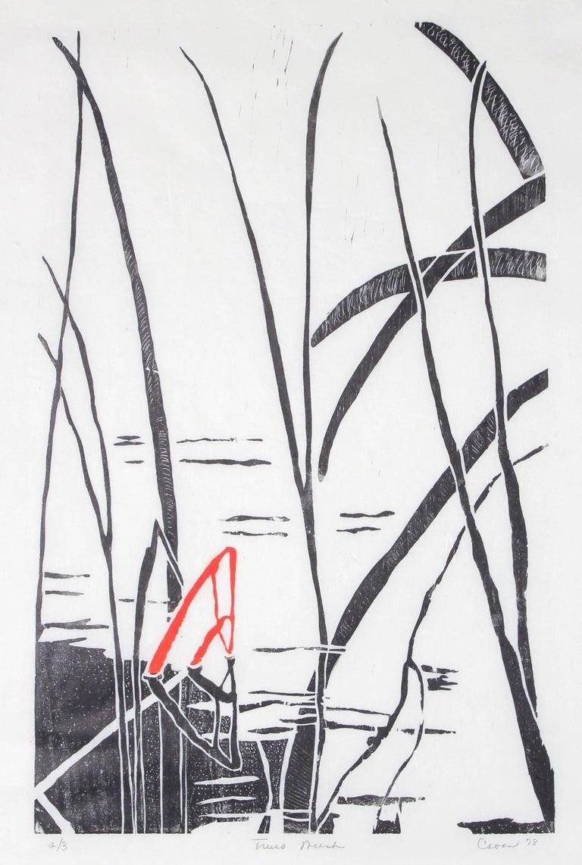 Minimal Landscape with Plants, Japanese Woodcut, 1978