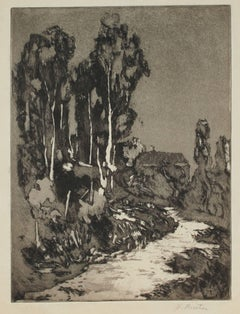 Monochromatic California Landscape Etching, Early to Mid 20th Century