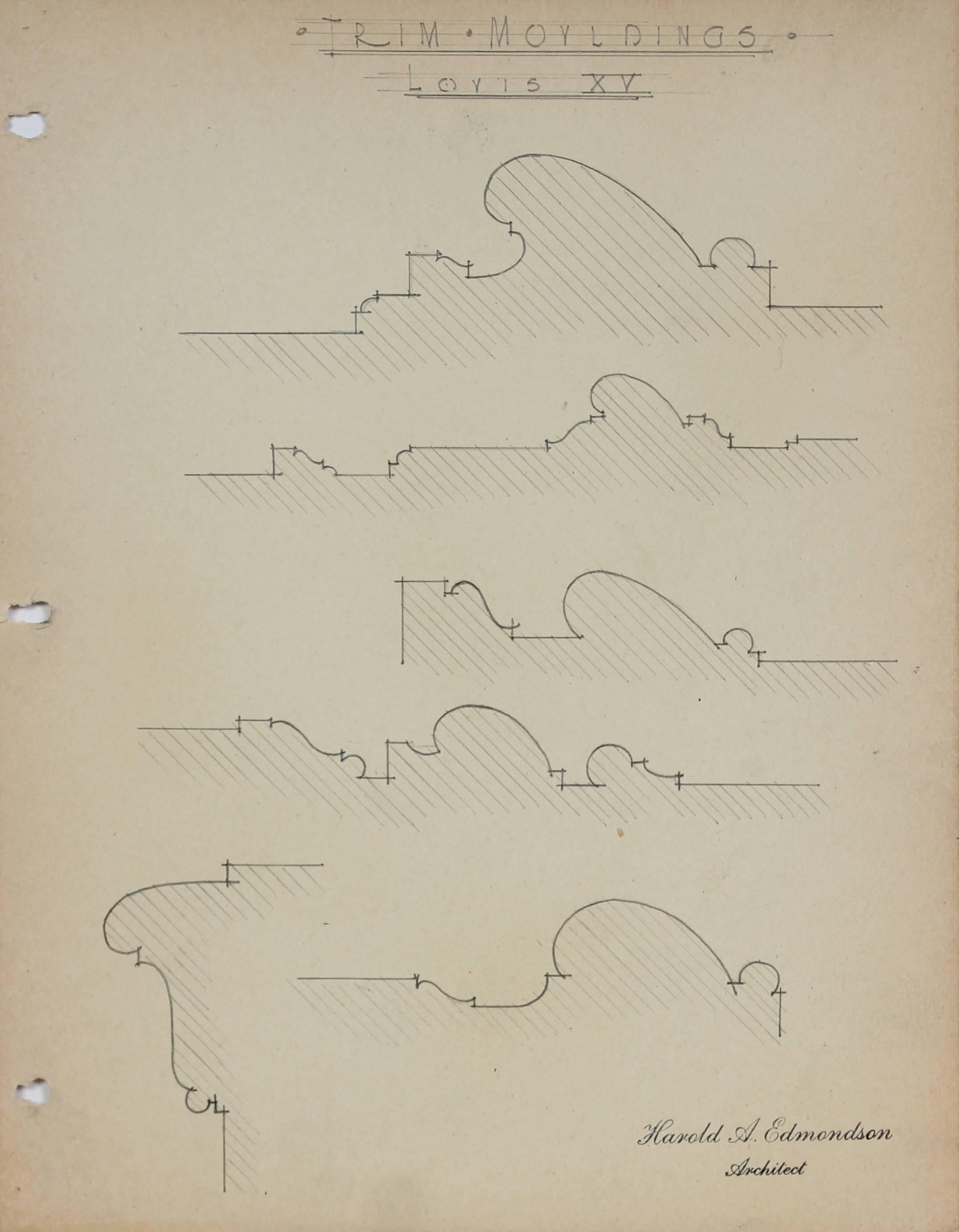 """""""Trim Mouldings, Louis XV"""" Architectural Detail Drawing in Graphite, 1920s-30s"""