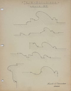 """Trim Mouldings, Louis XV"" Architectural Detail Drawing in Graphite, 1920s-30s"