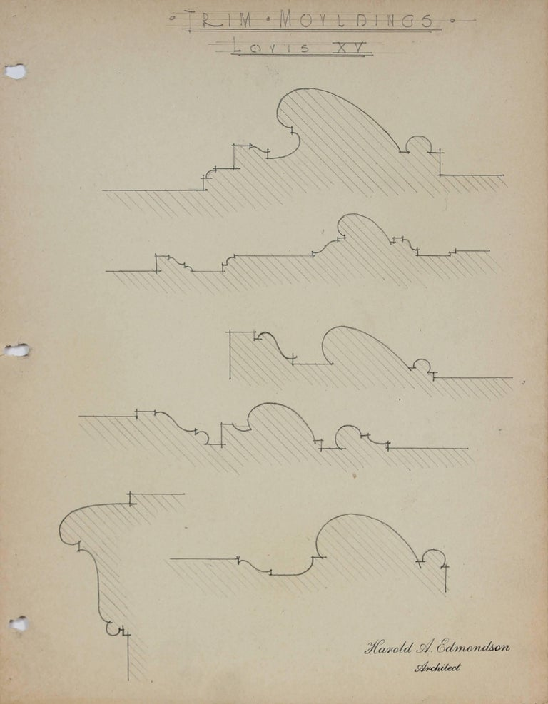 """Harold A. Edmondson Still-Life - """"Trim Mouldings, Louis XV"""" Architectural Detail Drawing in Graphite, 1920s-30s"""