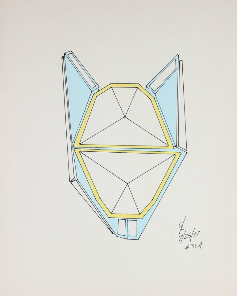 Colorful Geometric Abstract in Ink and Gouache, 1977