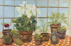 Still Life with Potted Plants, Oil on Canvas Painting, 1975