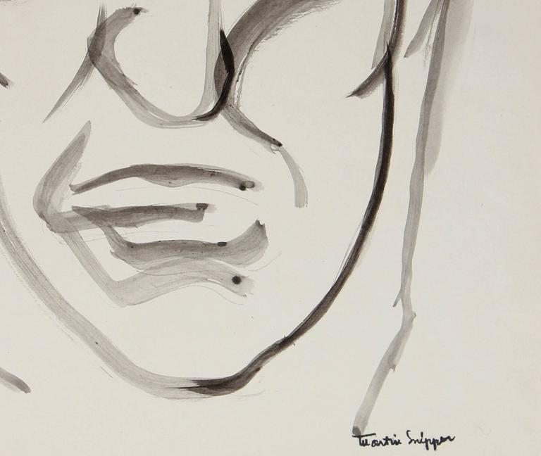 Mid Century Portrait of a Man, Ink on Paper - Expressionist Art by Martin Snipper
