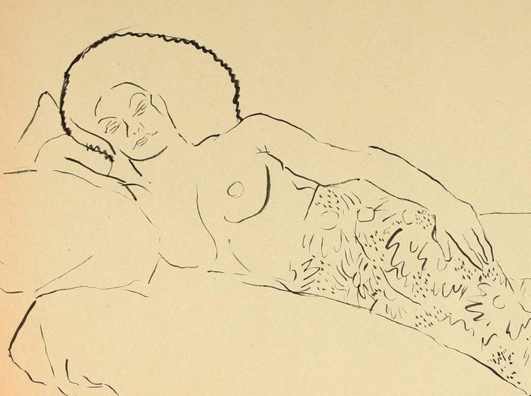 Reclining Female Figure, Pen & Ink Drawing, Circa 1940s - Art by Helen Sewell Rennie